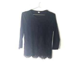 J crew black lace front top size small